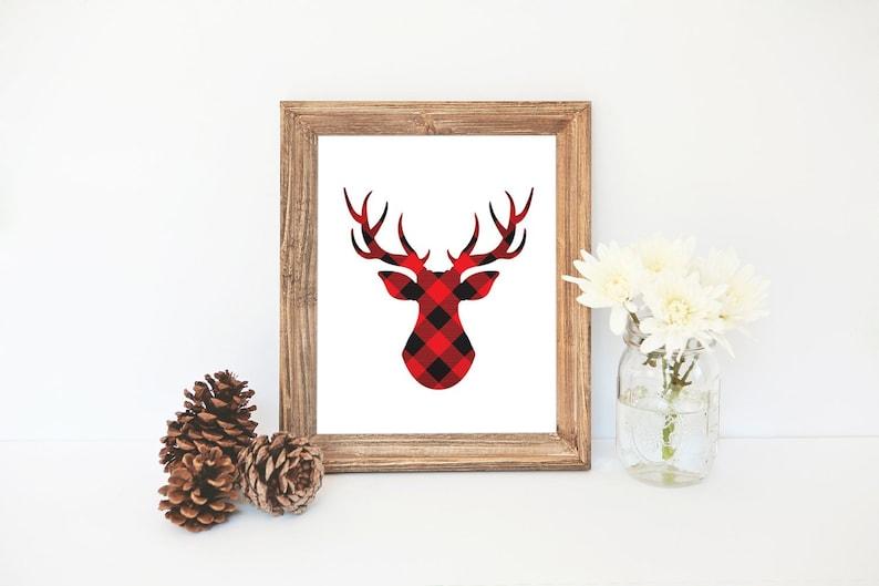 Reindeer Silhouette Print, Lumberjack Plaid Print, Christmas Printable,  Reindeer Printable, Plaid Art, Reindeer Antlers, Deer Silhouette