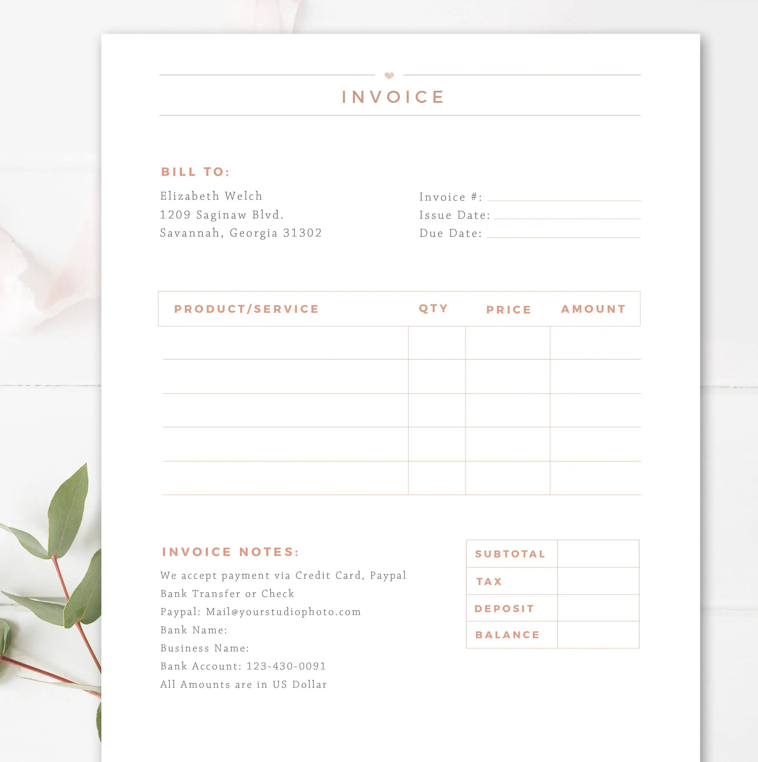 Invoice Template for Photographers Photography Invoice Etsy