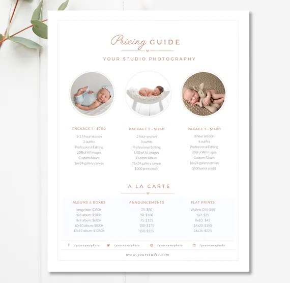 Newborn Pricing Template Photography Pricing Guide Price Etsy