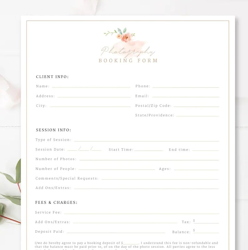 Client Booking Form For Photographers Photography Contract Etsy