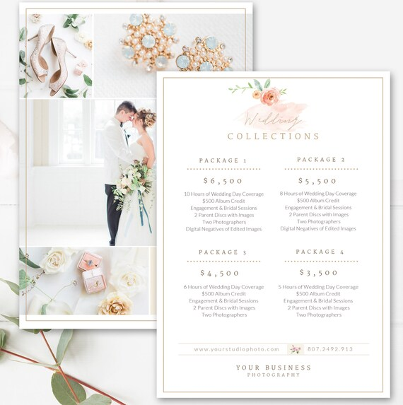 Photography Price List Template Wedding Price Sheet Etsy
