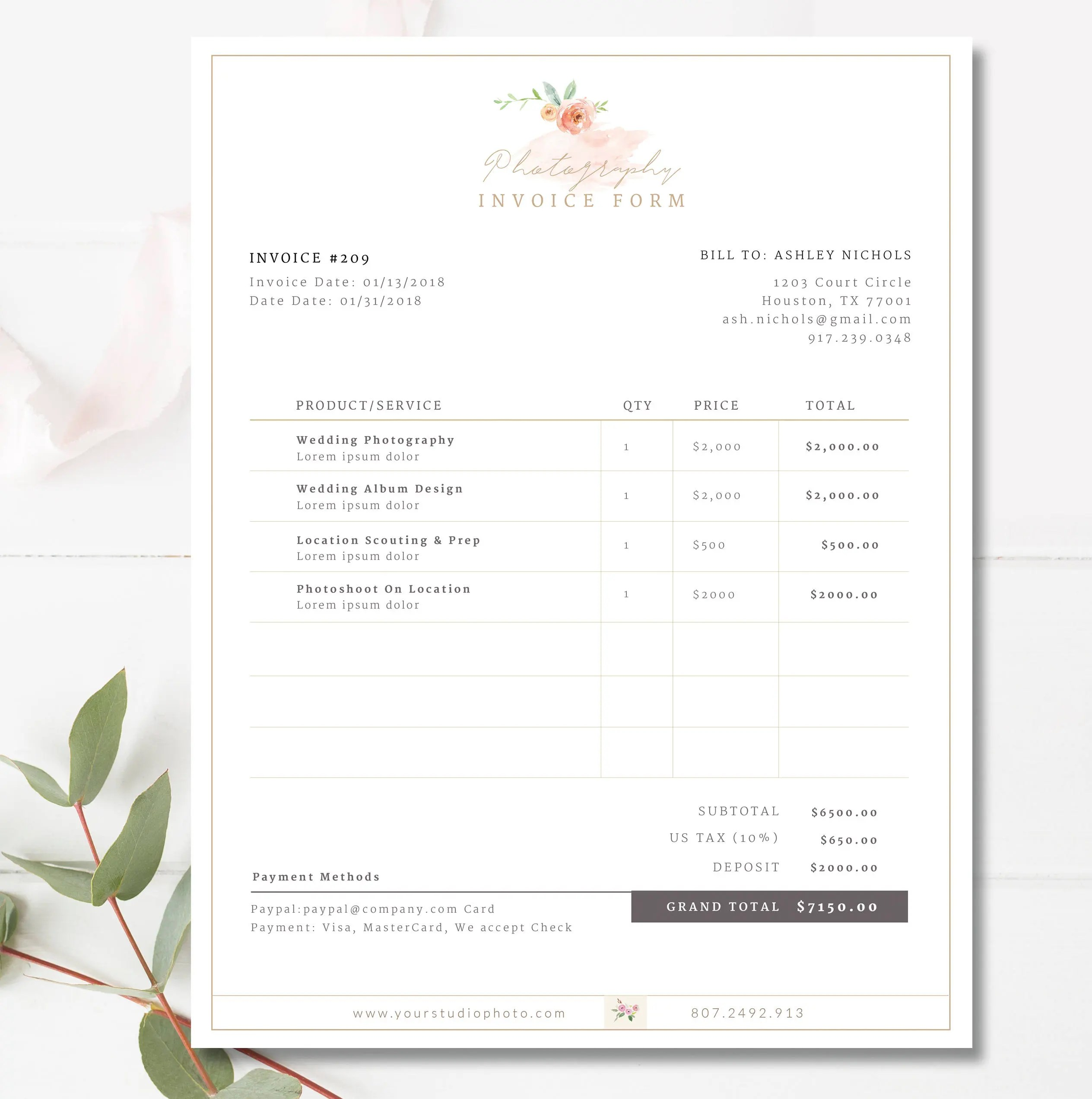 Invoice Template Invoice Design Receipt Photography Invoice Etsy