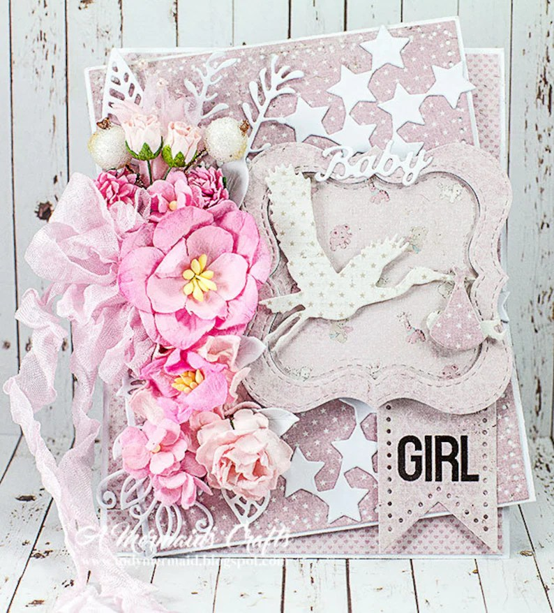 Shabby Chic Baby Girl Congratulations Card Etsy