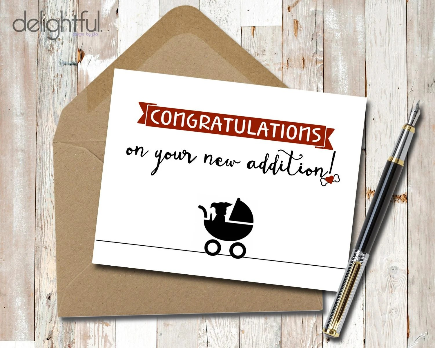 Instant Download Congratulations New Dog New Puppy Baby Card / Etsy