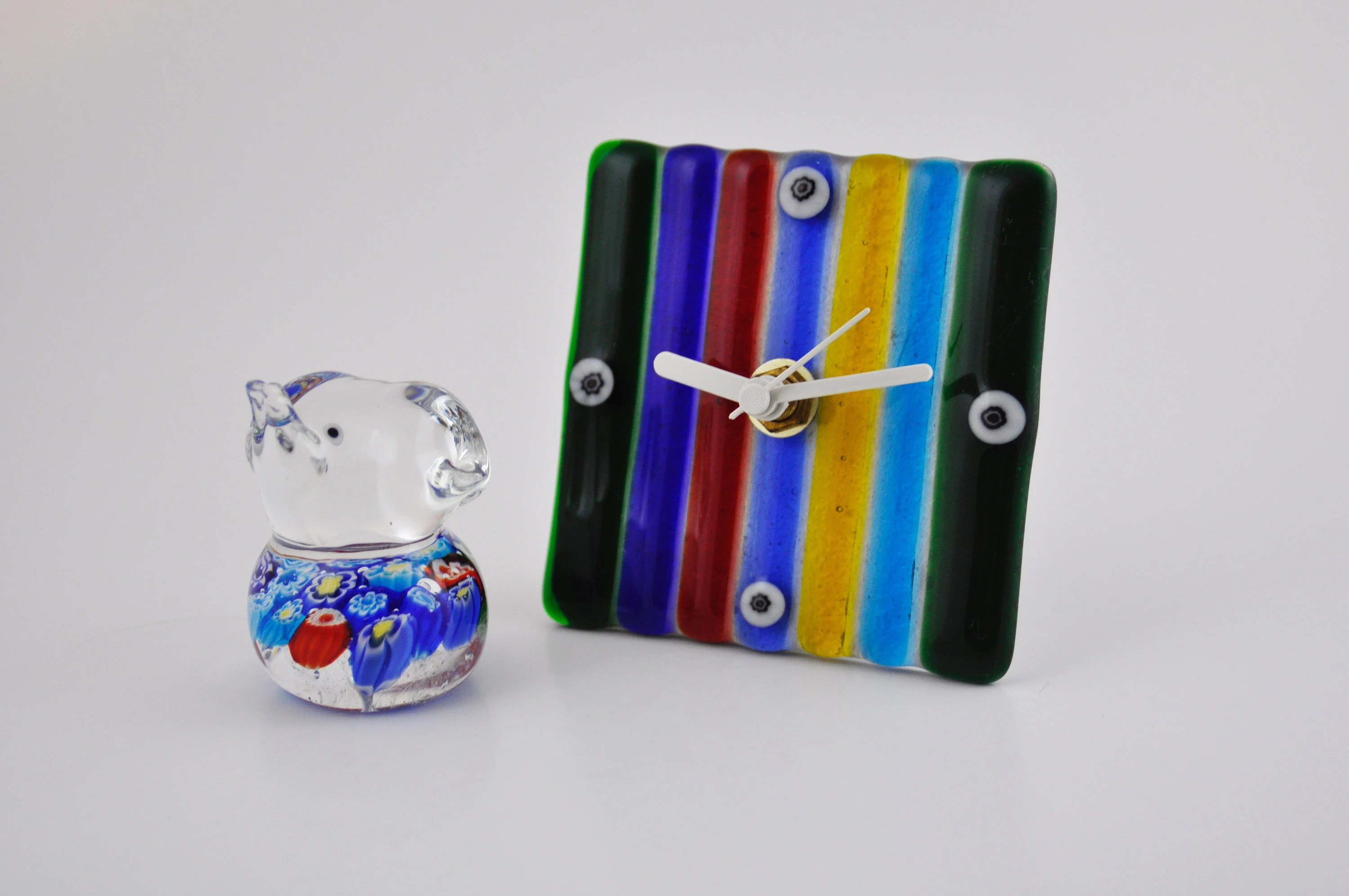 Arte Murano Icet Elephant Gallerymichel Murano Style Glass Clock With Small Bonus Millifiori Elephant Made In Italy
