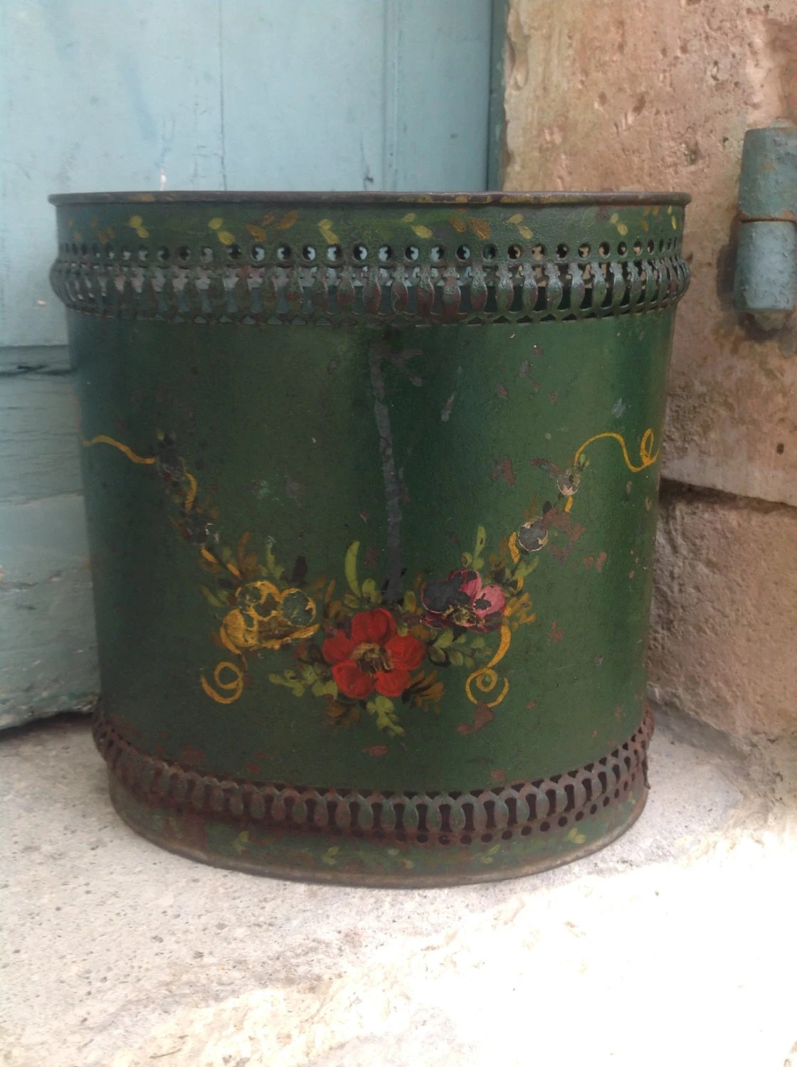 Shabby Chic Waste Baskets Charming Antique French Tole Peinte Waste Paper Bin Or Basket