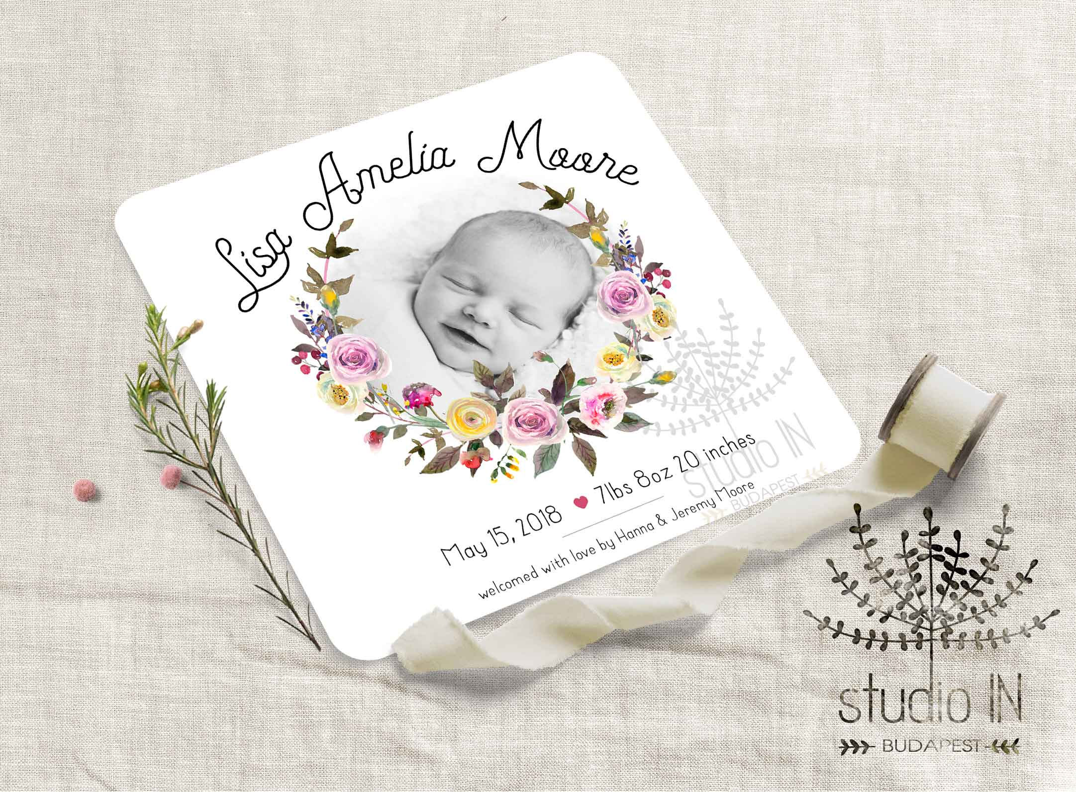 Birth announcement card baby girl announcement floral Etsy
