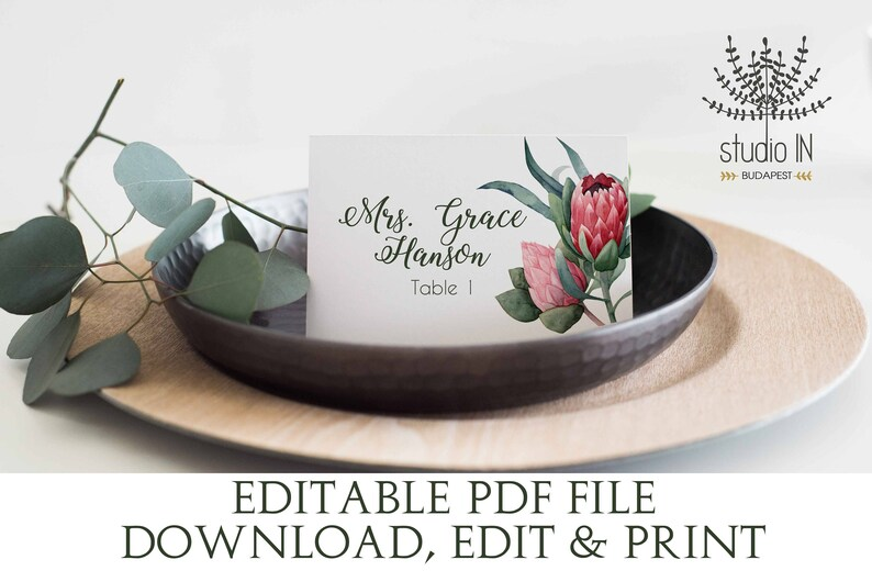 Protea Place Card template protea wedding table card Etsy