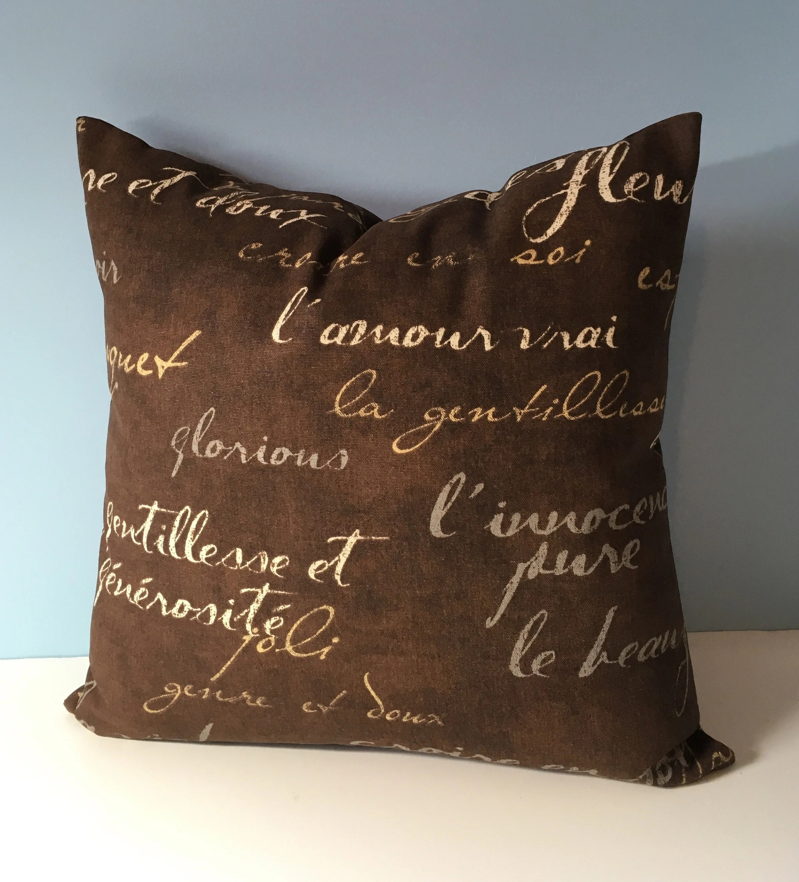 Sofa With French Writing French Country Farmhouse Throw Pillow Cover French Script Brown Pillow French Writing Decorator Sofa Pillow 18x18 Waverly Toss Pillow