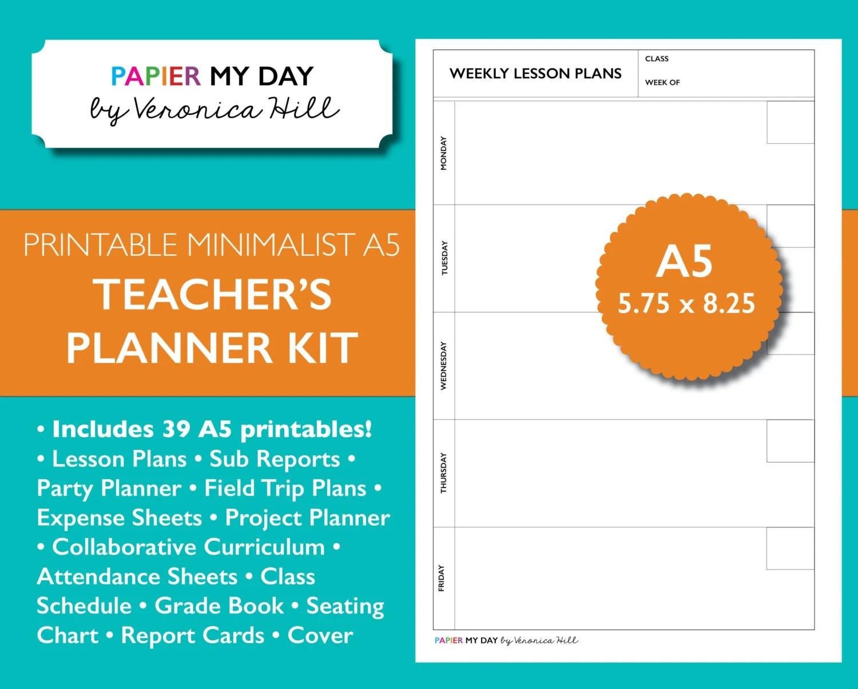 A5 Filofax Teacher\u0027s Planner Kit Lesson Plans and Grade Etsy
