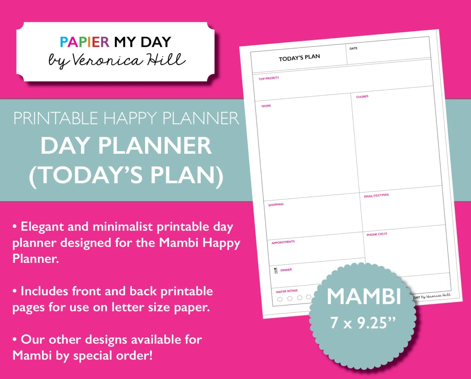 Happy Planner Printable Day Planner Daily Planner Designed Etsy