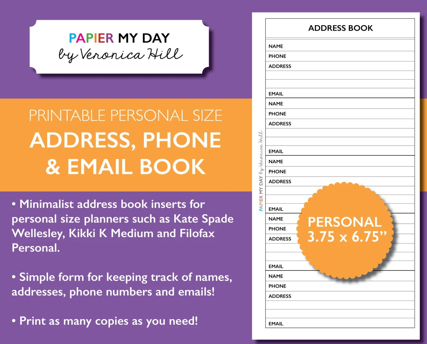 Personal Filofax Address Book Printable Address Book for Etsy