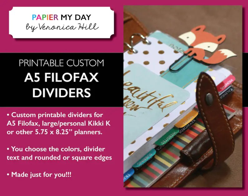 Printable Custom A5 Filofax Dividers Custom Dividers for A5 Etsy