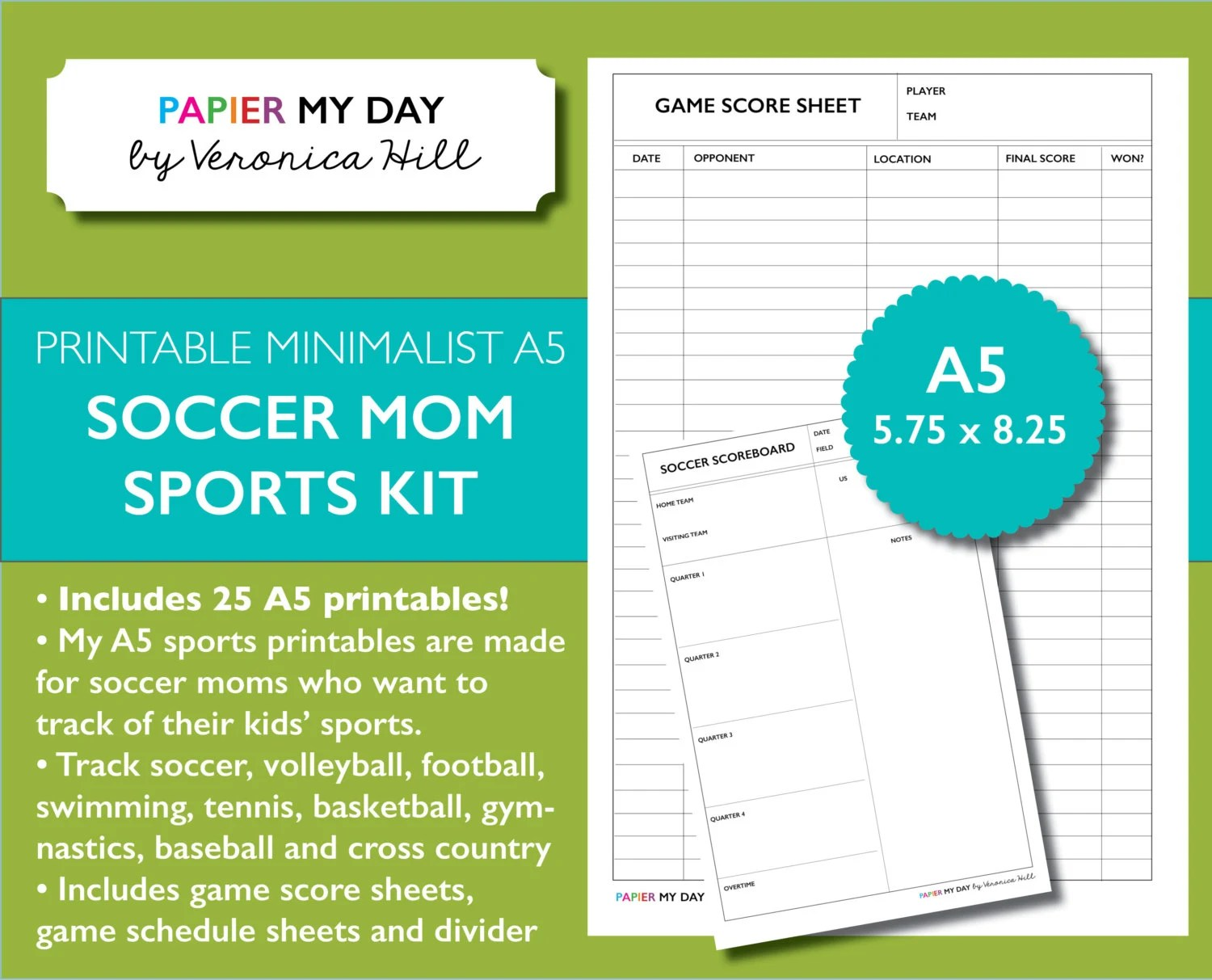 A5 Filofax Sports Pack Track Scores Soccer volleyball - tennis score sheet