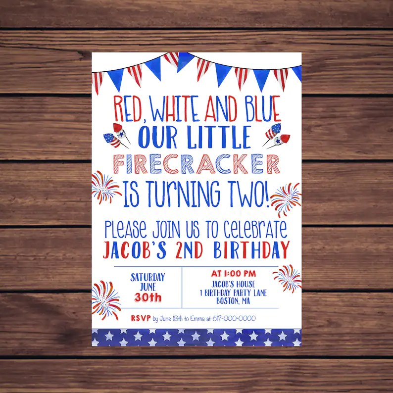 4th of July Birthday Invitations Red White and Blue 2nd Etsy