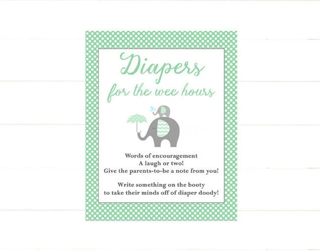 Elephant Diaper Thoughts Sign Printable, Late Night Diapers Sign