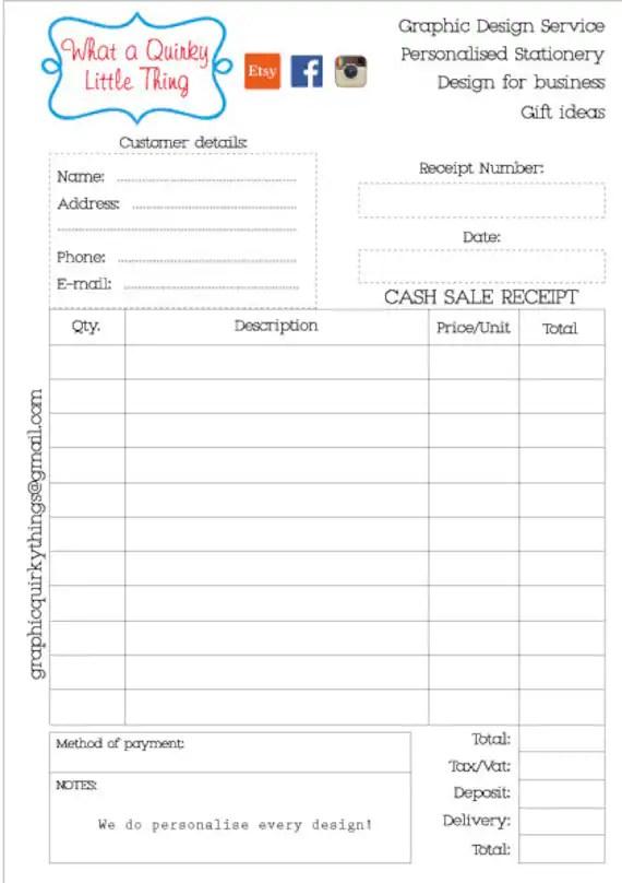 Cash Receipt Book Printable Petty cash receipt Receipt Etsy