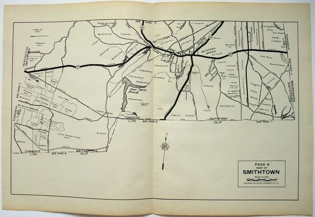 Original 1929 Map of Parts of Smithtown and Commack NY by Etsy