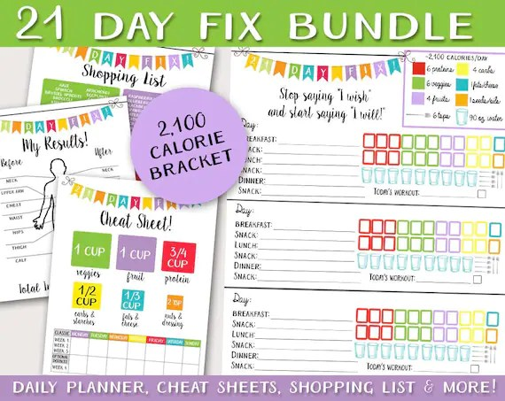 21 Day Fitness Logging System BUNDLE Tracking Sheet Beach Etsy