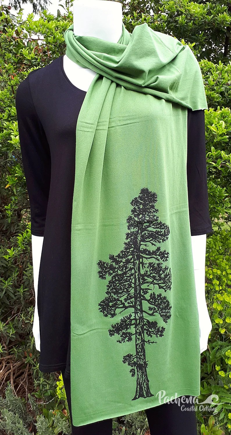 Bamboo Canada Pachena Clothing Fashion Design Moss Green Bamboo Scarf Featuring The Artwork Ponderosa Pine By Pachenaclothing Made In Canada