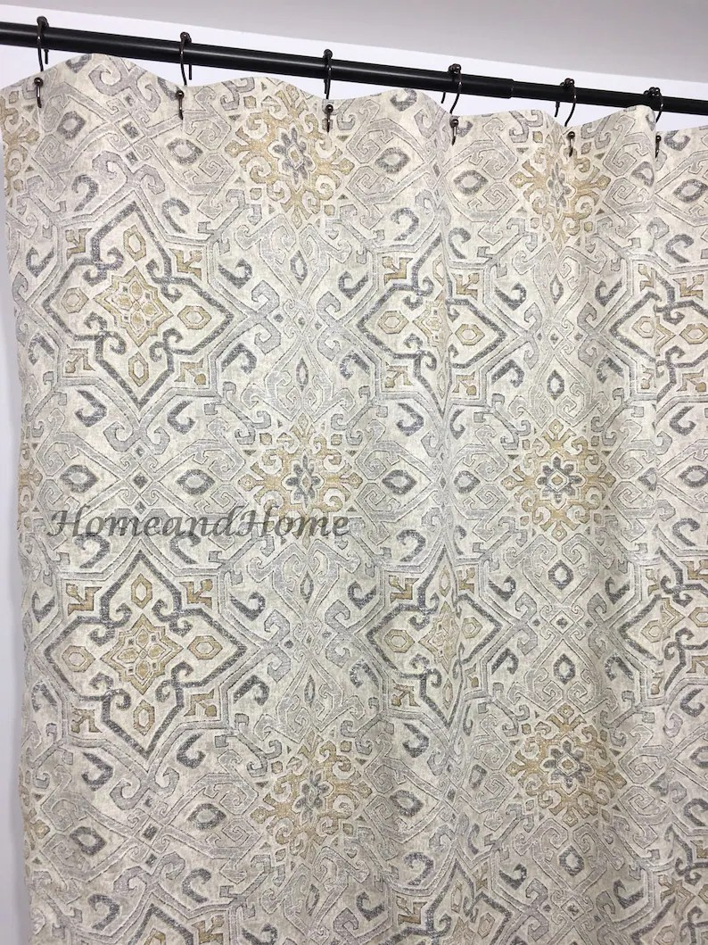 108 Long Shower Curtain Shower Curtain Covington Grey Taupe Beige 72 X 84 108 Long Shower Curtain Extra Wide Shower Curtain Fabric Shower Curtain
