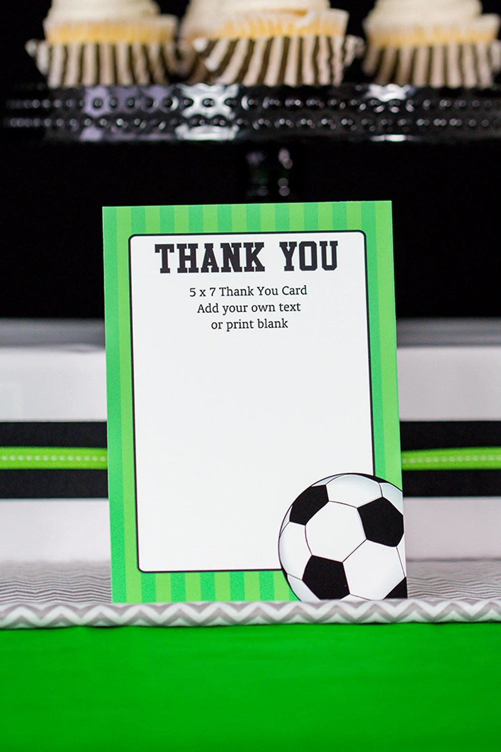 Soccer Party Thank You Card - Soccer Thank You Card - Instant