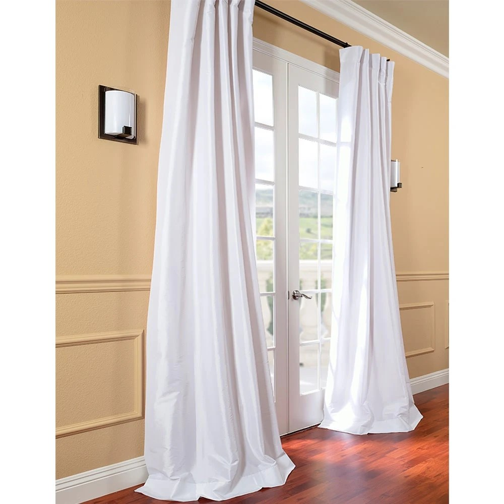 Faux Silk Curtains White Faux Silk Curtain Panel Two Panel Home Drapery