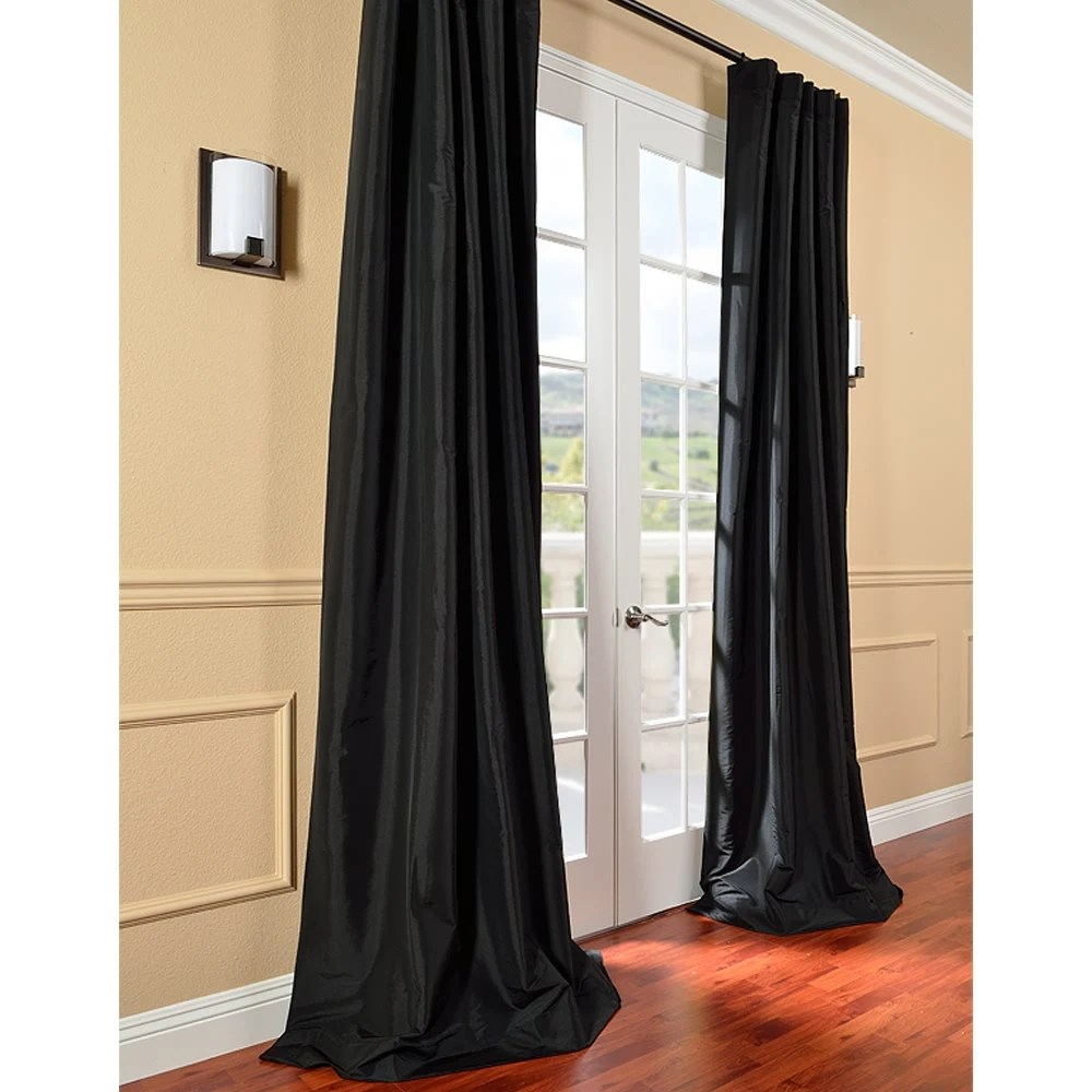 Faux Silk Curtains Black Faux Silk Curtain Panel Two Panel Home Drapery