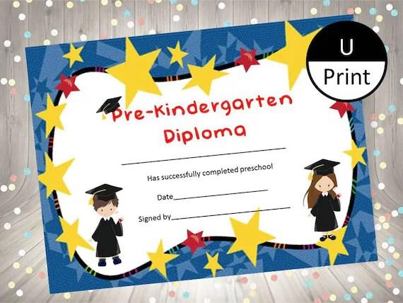 Pre-Kindergarten Graduation Child Kid Diploma Certificate