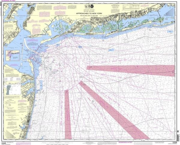 Details about NOAA Nautical Chart 12326 Approaches to New York Fire lsland  Light to Sea Girt