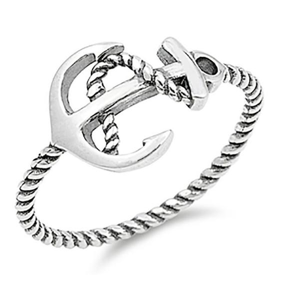 ·925 Sterling Silver Plain Anchor Ring Size 4,5,6,7,8,9,10»U86 eBay