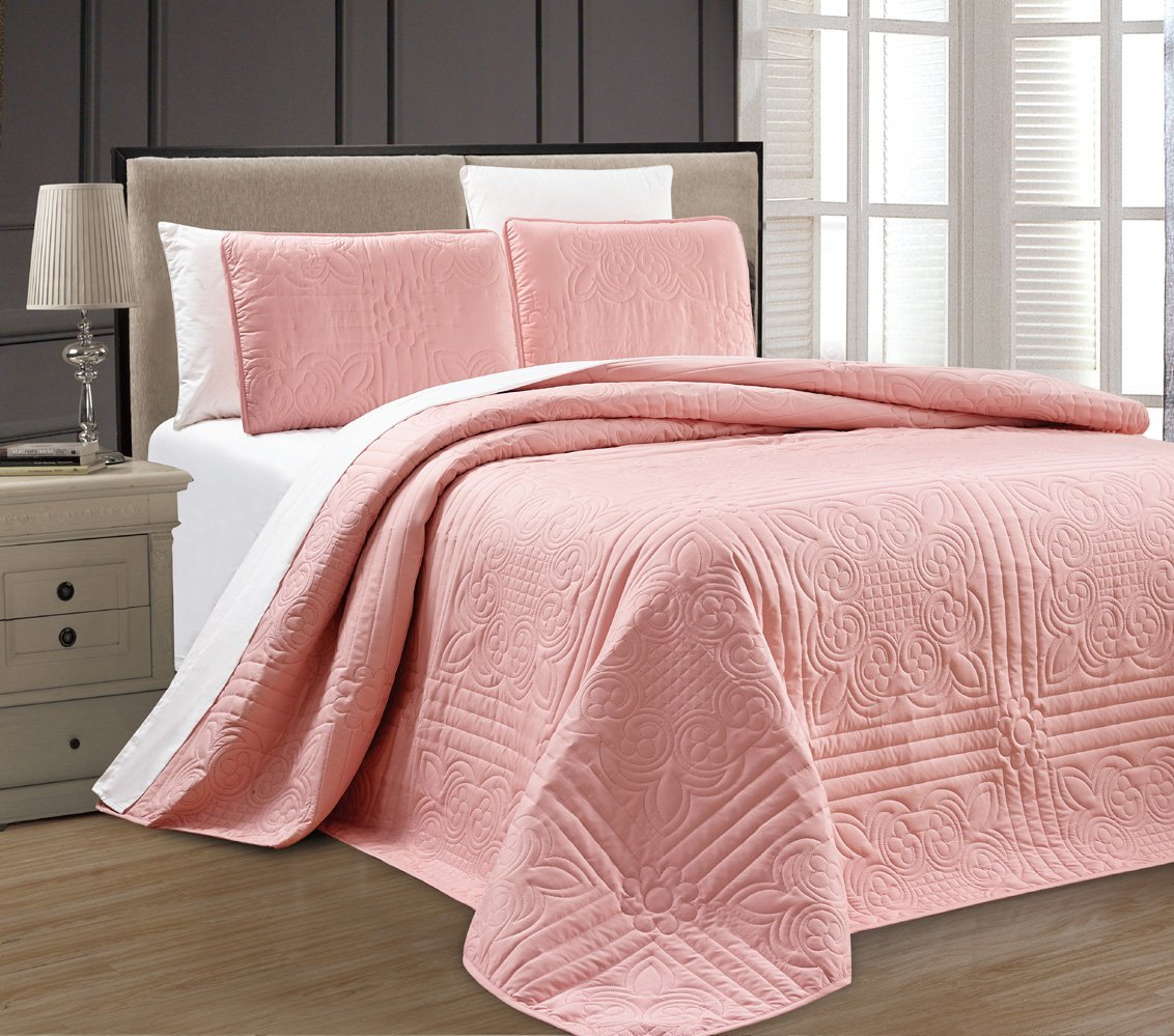 King Quilt Size New Twin Xl Full Queen Cal King Size Bed Pink 3 Pc