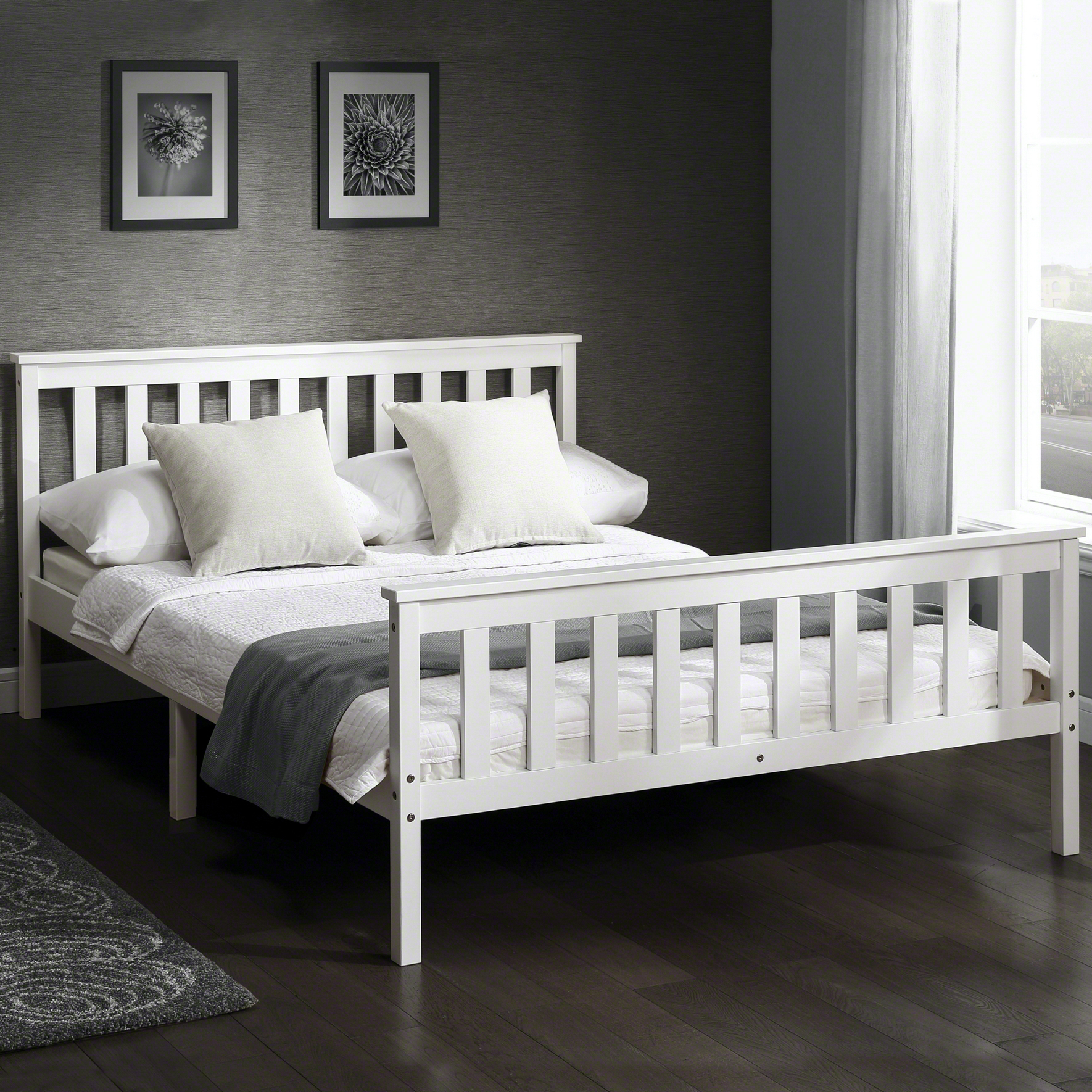4ft6 Bed Frame Details About Laura James Double 4ft6 Wooden Bed Frame In White