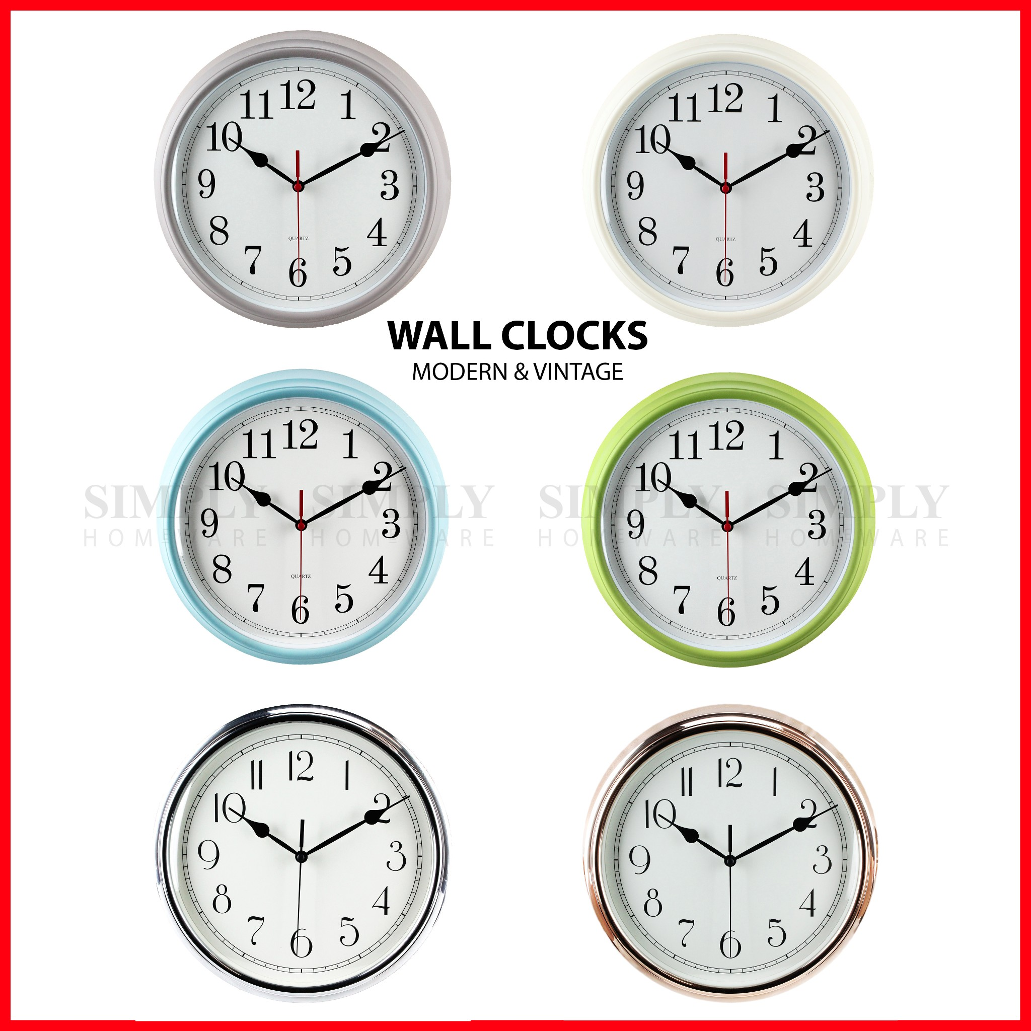 Modern Kitchen Clocks Wall Clock Large Modern Clocks Kitchen Black White Red