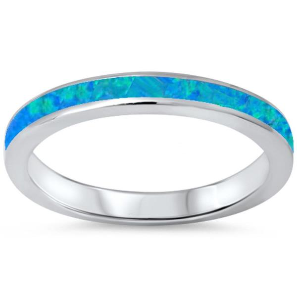 ·925 Sterling Silver Lab Blue Opal Eternity Band Ring Size 4,5,67