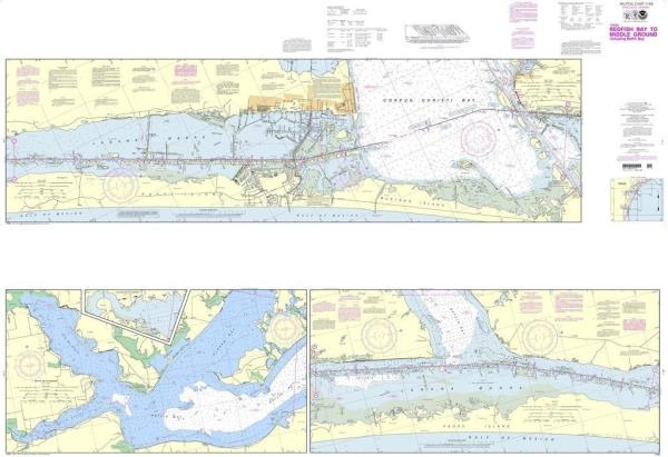 Details about NOAA Nautical Chart 11308 Intracoastal Waterway Redfish Bay  to Middle Ground