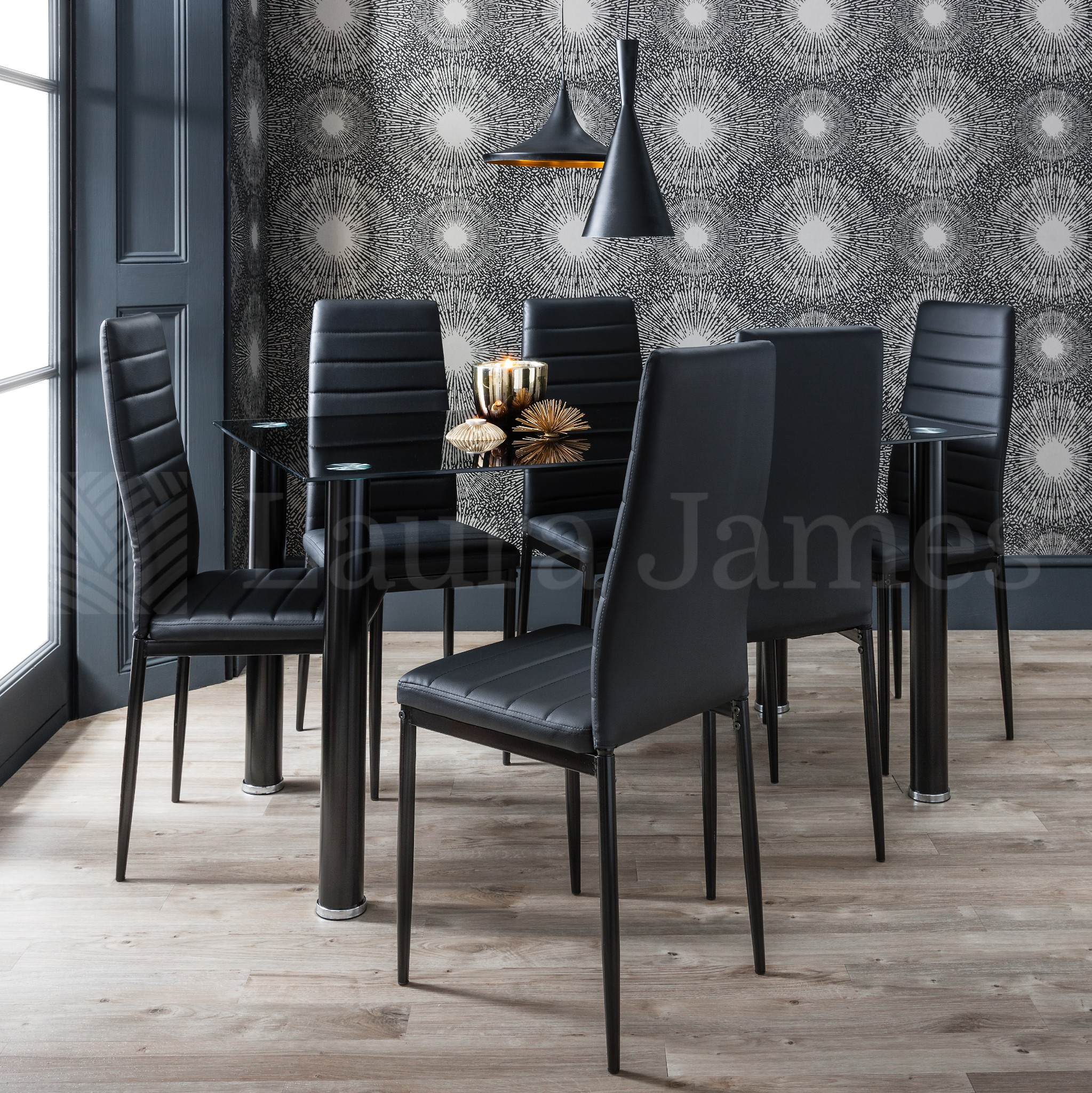 Black Dining Table And Chairs Dining Table And 6 Chairs Set Glass Dining Table Black And