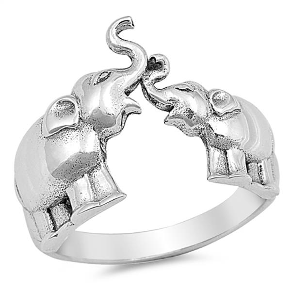 ·925 Sterling Silver Plain Mother and Baby Elephant Ring Size 4,5,6