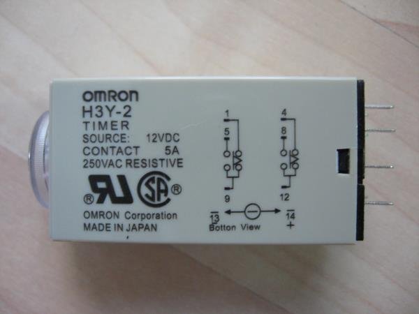 Omron Delay-On Timer Time Relay 05~10sec 2-Pole 12VDC H3Y-2 w