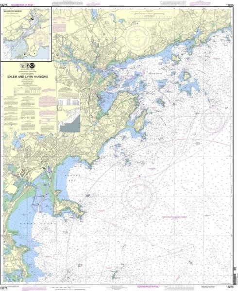Details about NOAA Nautical Chart 13275 Salem and Lynn Harbors; Manchester  Harbor