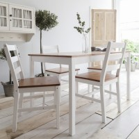 White Wooden dining table and 4 chairs set | eBay