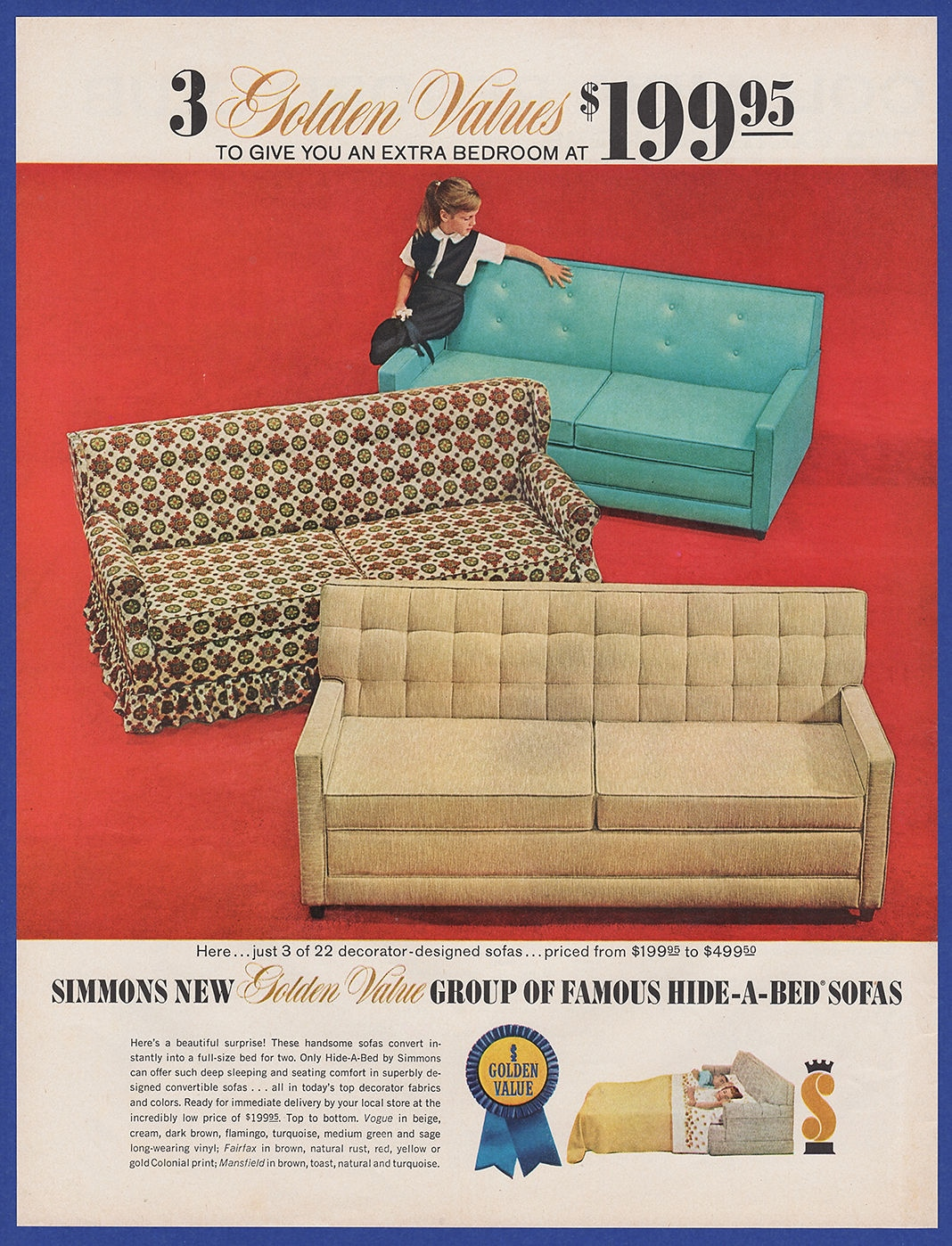 Sofa 60s Details About Vintage 1963 Simmons Golden Value Hide A Bed Sofa Furniture Decor Print Ad 60 S