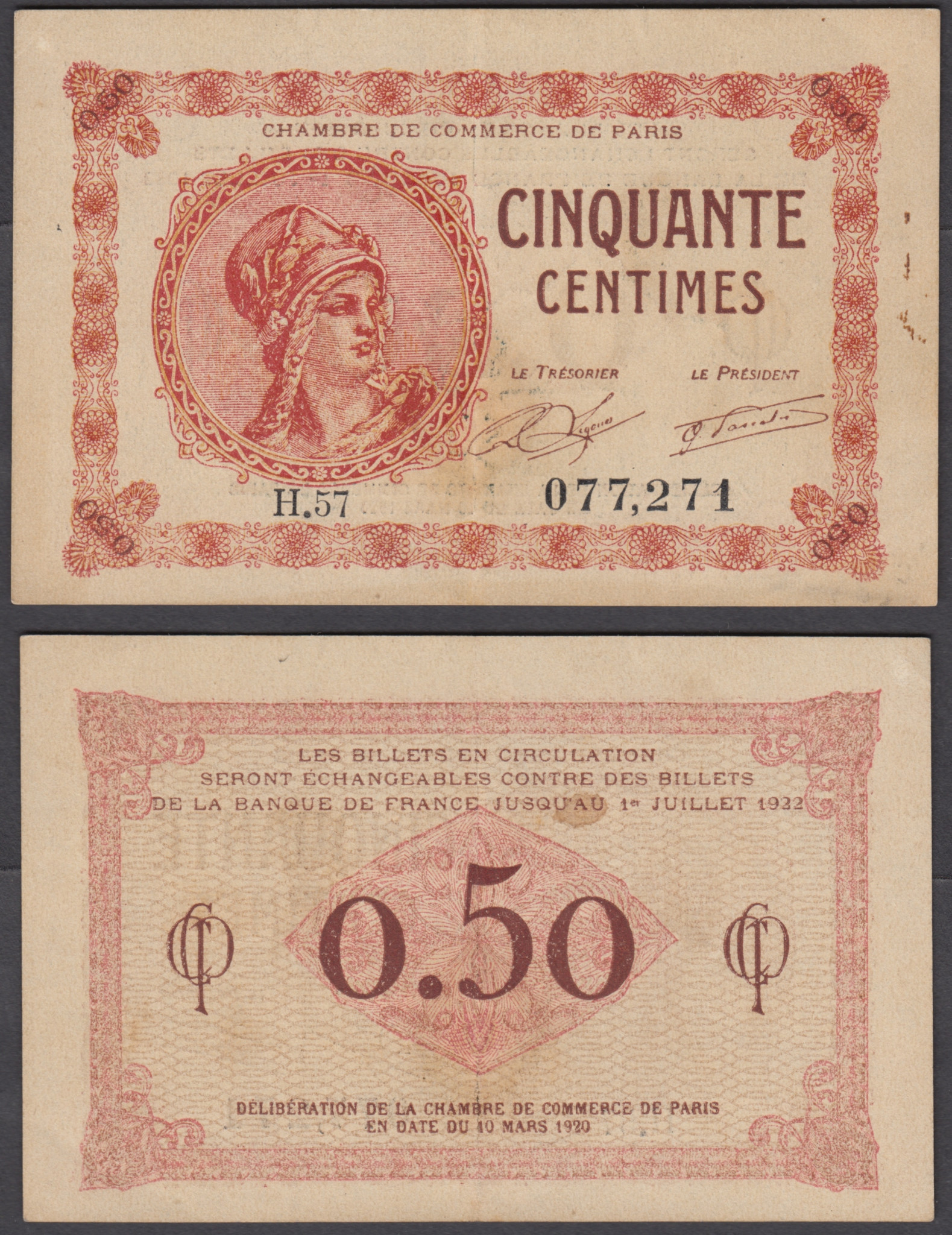 Chambre De Paris Details About France 50 Centimes 1920 Xf Crisp Banknote Paris Chambre De Commerce