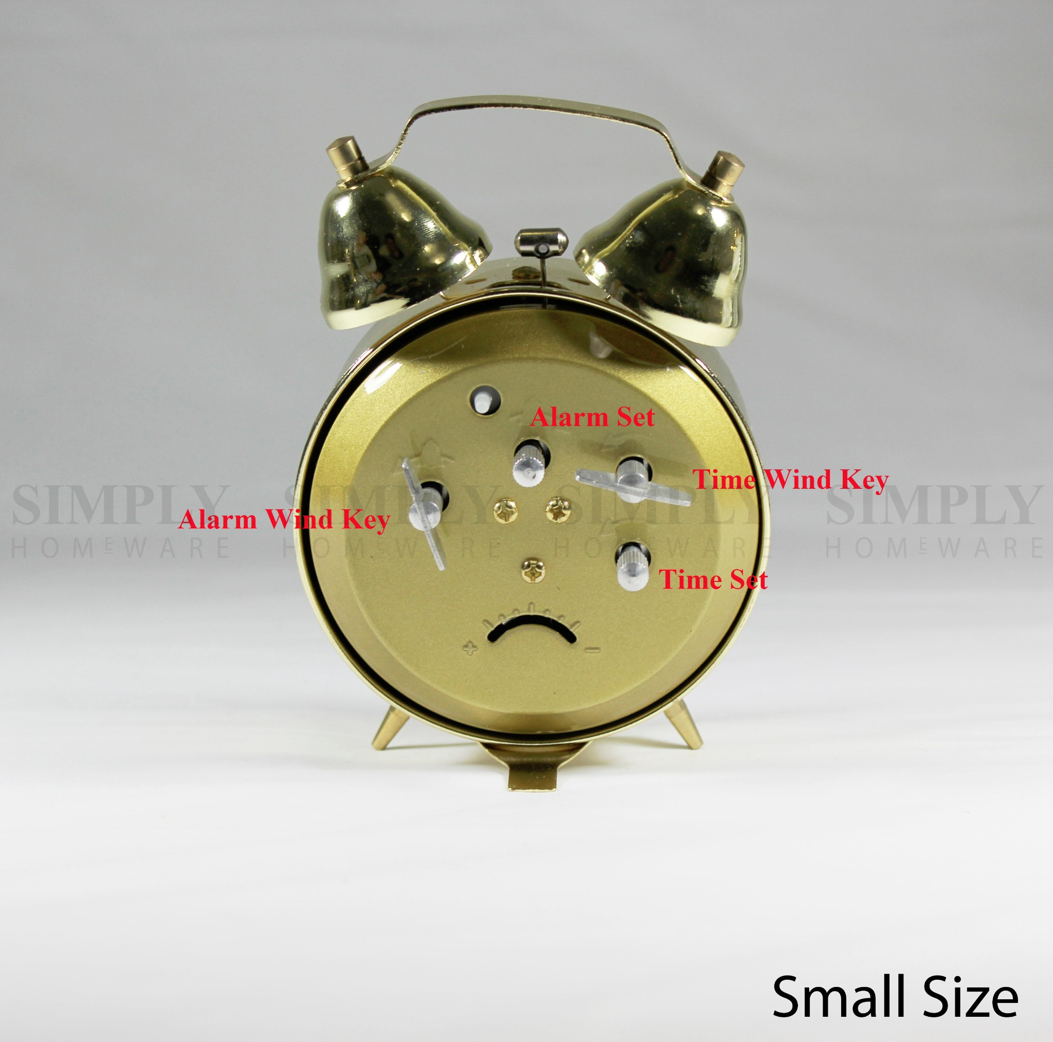 Small Bedside Table Clocks Wind Up Twin Bell Alarm Clock Mechanical Clocks Loud Wind