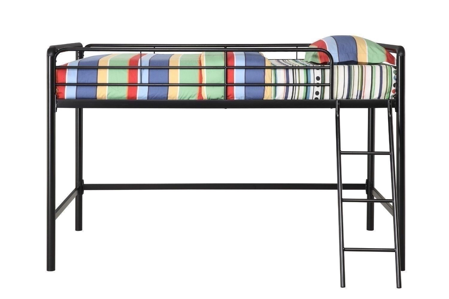 Black Silver Metal Junior Loft Bed Frame Twin Size Bunk