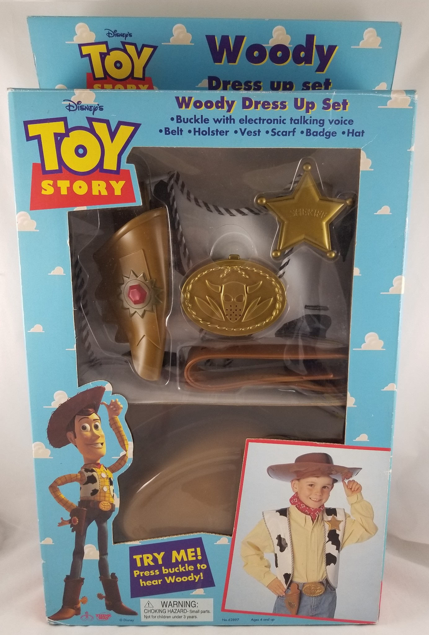 Toy Story Toys Vintage Details About Vintage Original Disney Toy Story Woody Dress Up Set Thinkway 1995 Talking Belt