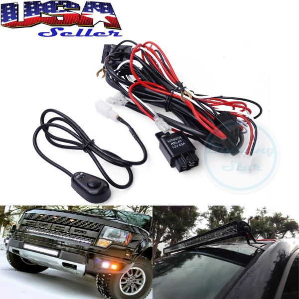40 Amp Off Road ATV / Jeep LED Light Bar Wiring Harness Relay  ON