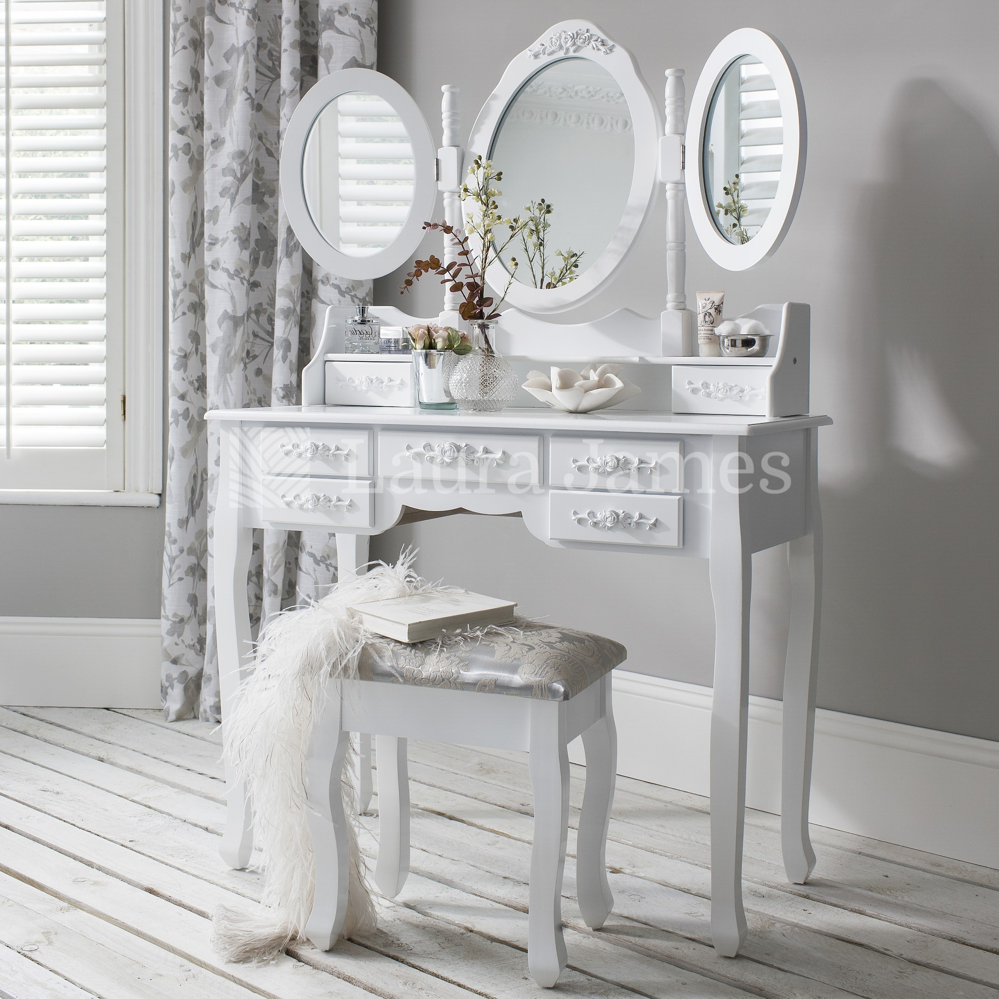 White Dressing Table Mirror White Dressing Table Mirror And Stool Set 7 Drawer Dresser