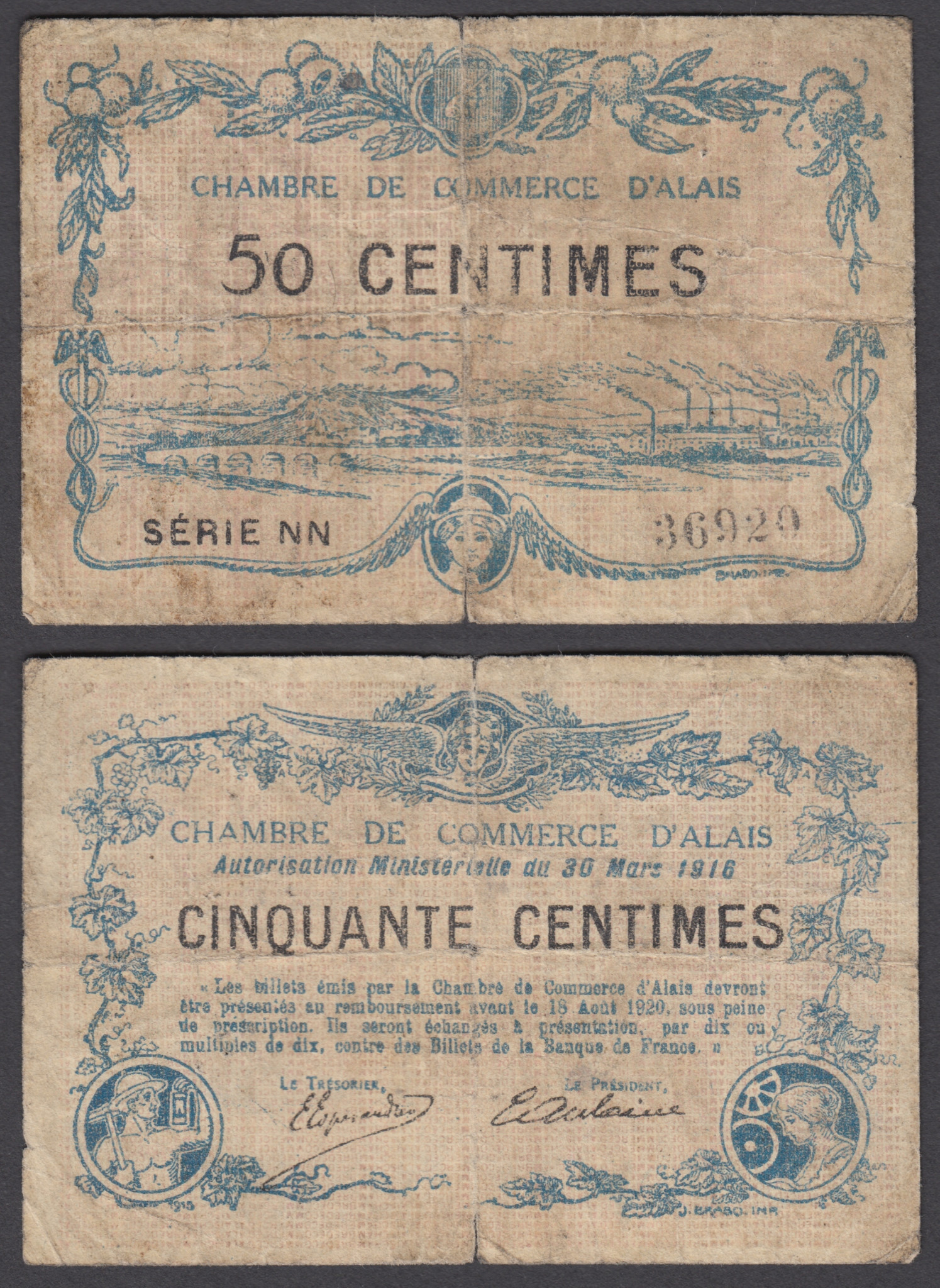 Chambre De Commerce Zimbabwe Details About France 50 Centimes 1916 Vg Condition Banknote Chambre De Commerce Alais