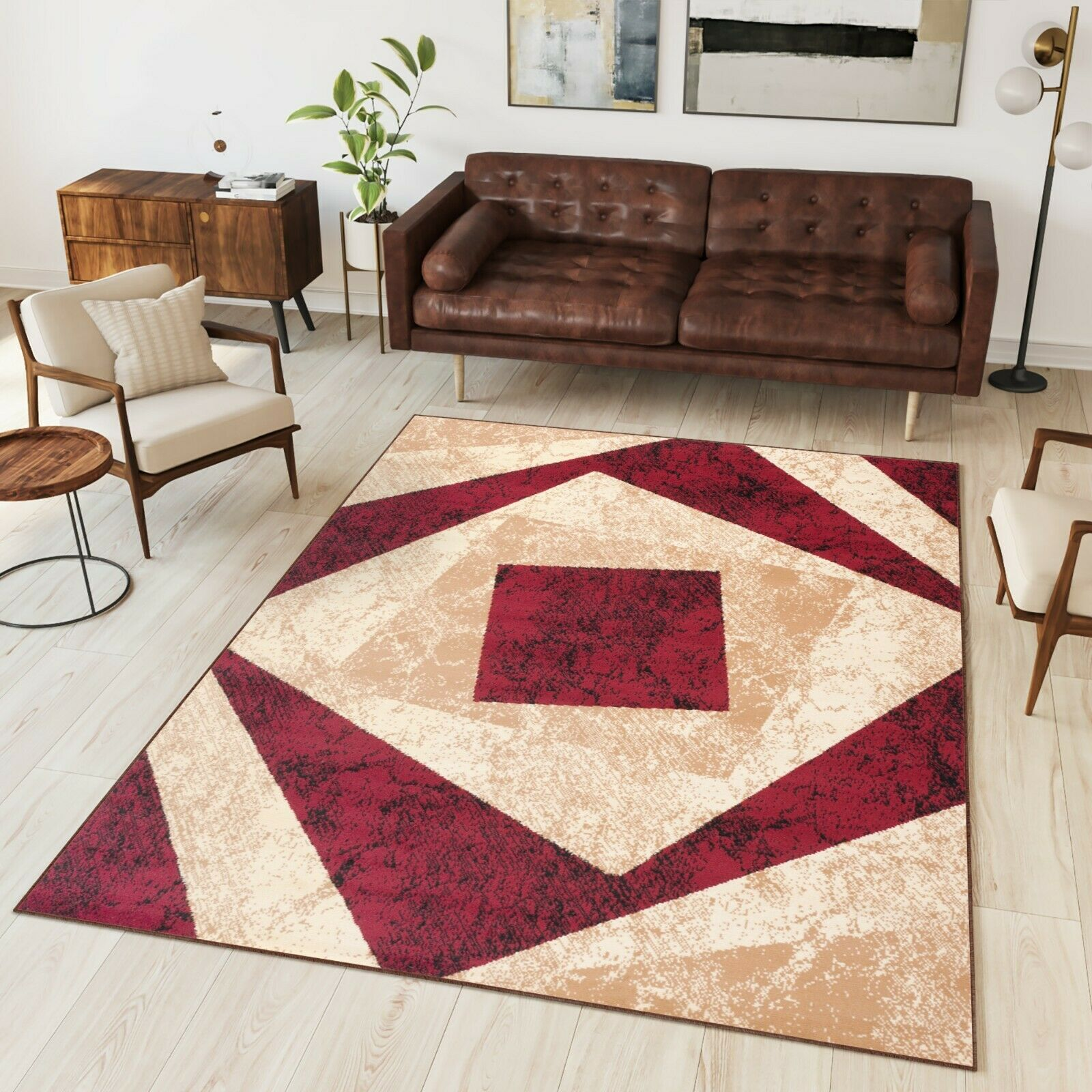Designer Carpet Modern Trendy Short Pile Rug In Red Cream Marl Home Garden Rugs Carpets